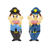 Funny cartoon policeman, two colors Royalty Free Stock Image