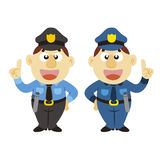 Funny cartoon policeman, two colors Royalty Free Stock Images