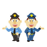 Funny cartoon policeman, two colors Royalty Free Stock Photos