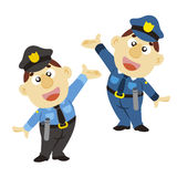 Funny cartoon policeman, two colors Stock Photo