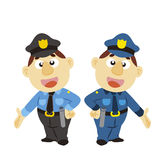 Funny cartoon policeman, two colors Stock Photography