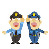 Funny cartoon policeman, two colors Stock Photos