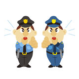 Funny cartoon policeman, two colors Royalty Free Stock Photo