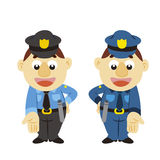 Funny cartoon policeman, two colors Royalty Free Stock Photography