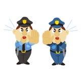 Funny cartoon policeman, two colors Stock Photos