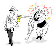 Funny Cartoon Policeman Using Taser Stock Photo