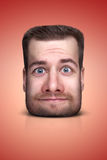 Funny cartoon portrait. From man`s face on color background Royalty Free Stock Photos