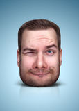 Funny cartoon portrait. From man`s face on color background Stock Photography