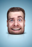Funny cartoon portrait. From man`s face on color background Royalty Free Stock Image