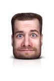 Funny cartoon portrait. From man`s face  on white Royalty Free Stock Photo