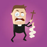 Funny cartoon priest is doing exorcism Stock Images