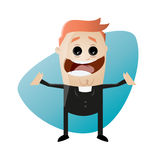 Funny cartoon priest is smiling and spreading his arms. Illustration of a funny cartoon priest who is smiling and spreading his arms Stock Photo