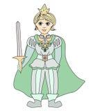 Funny cartoon prince on white background Royalty Free Stock Photos