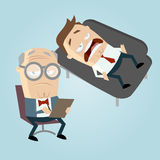 Funny cartoon psychiatrist with patient on couch Stock Photography