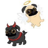 Funny cartoon pug stock illustration