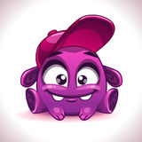Funny cartoon purple alien monster character Stock Photo
