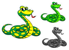 Funny cartoon python snake Stock Images