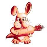 Funny cartoon rabbit with carrot stock photos