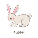 Funny cartoon rabbit, children illustration. Simple children illustration - cute animal vector drawing, isolated on white vector illustration