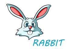 Funny cartoon rabbit or hare. Head for mascot or easter holiday design Stock Photography