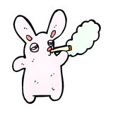 Funny cartoon rabbit smoking cigarette Stock Photo