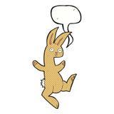 Funny cartoon rabbit with speech bubble Stock Photo