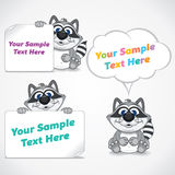 Funny Cartoon Raccoon with Blank Paper Banners Royalty Free Stock Photography