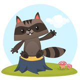 Funny cartoon raccoon waving a paw ad sitting on a tree stump in a meadow with a grass and murshrooms. Vector illustration stock illustration