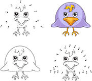 Funny cartoon raven. Vector illustration. Coloring and dot to do Stock Image
