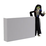 Funny cartoon reaper invites you Royalty Free Stock Photography