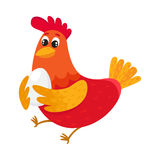 Funny cartoon red chicken, hen standing and smiling happily Royalty Free Stock Photos