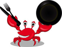 Funny cartoon red crab Stock Photos