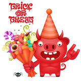 Funny cartoon red devil character with halloween bouquet. Vector illustration Royalty Free Stock Photo