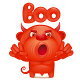 Funny cartoon red little devil emoji character with boo title Royalty Free Stock Photos