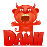 Funny cartoon red little devil emoji character with damn title. Vector illustration Royalty Free Stock Photo