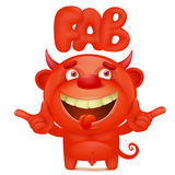 Funny cartoon red little devil emoji character with fab title. Vector illustration Stock Photo