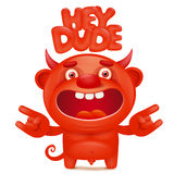 Funny cartoon red little devil emoji character with hey dude title Royalty Free Stock Photography