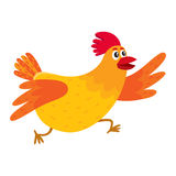 Funny cartoon red and orange chicken, hen rushing, hurrying somewhere Stock Images