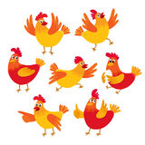 Funny cartoon red and orange chicken, hen in various poses Royalty Free Stock Photography