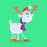 Funny Cartoon Reindeer Flat Vector Icon. Funny cartoon reindeer icon. Cute deer character in Santa hat and scarf isolated flat vector illustration. Celebrating Royalty Free Stock Photos