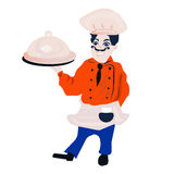 Funny cartoon restaurant character, merry cook icon, isolated no background, chef man, cooking Royalty Free Stock Photo