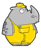 Funny cartoon rhino locksmith Royalty Free Stock Photos
