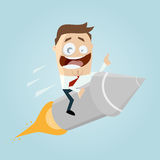 Funny cartoon riding on a rocket Royalty Free Stock Image