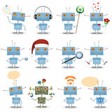 Funny cartoon robot set Royalty Free Stock Photo