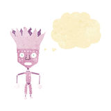 funny cartoon robot wearing crown with thought bubble Royalty Free Stock Image