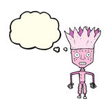 funny cartoon robot wearing crown with thought bubble Royalty Free Stock Photography