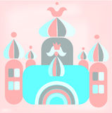 Funny cartoon of romantic castle with princess Royalty Free Stock Photography