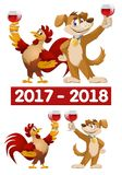 Funny cartoon rooster and dog as symbols of New Year 2017 and 20. 18 giving a toast. Vector illustration. Elements is grouped. No transparent objects. Isolated Royalty Free Stock Images