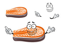 Funny cartoon salmon fish slice. With happy face, for seafood theme Stock Photography