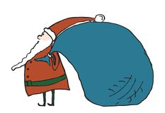 Funny cartoon Santa with big bag. Royalty Free Stock Photos